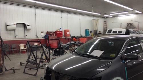 Hilltop Collision Inside Shop with Car